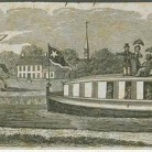 Horse drawn boat on the Farmington Canal, John Warner Barber print