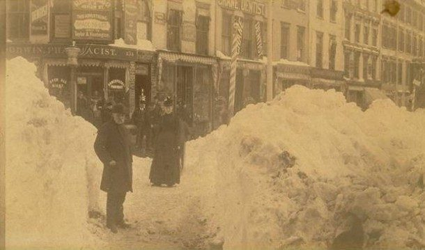 Blizzard of 1888 - Hartford, corner of Main Street and State Street
