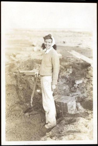 Katharine Hepburn, standing on the beach, Fenwick. Hurricane of 1938