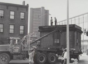 The historic move in 1974 of the Louis' Lunch building
