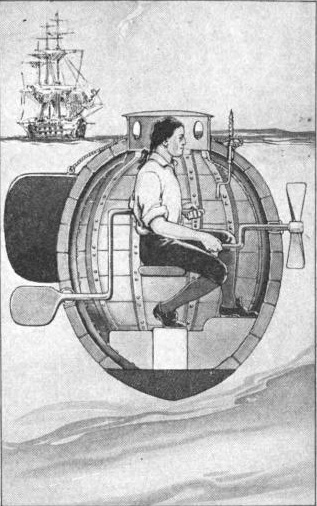 A depiction of David Bushnell's submarine