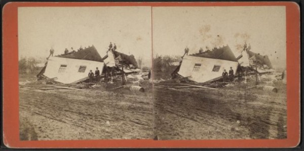 View of collapsed house after the tornado at Wallingford