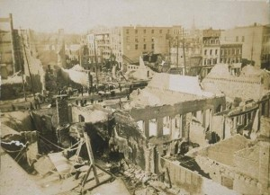 Ruins of commercial buildings on Bank Street, Waterbury