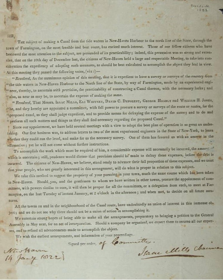 Solicitation to support building the canal, 1822
