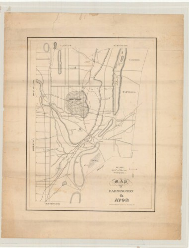 Map of Farmington and Avon, indicating the Farmington Canal and its feeders