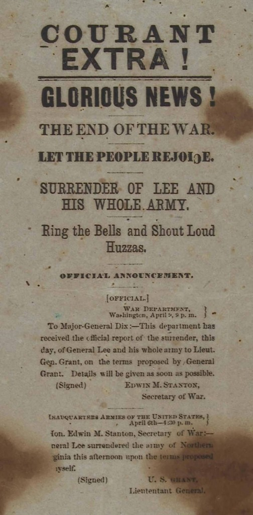 Handbill in April 1865 that signaled the end of the Civil War