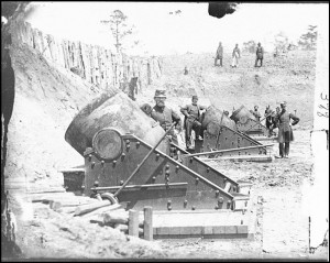 13-inch seacoast mortars of Federal Battery No. 4 with officers of 1st Connecticut Heavy Artillery