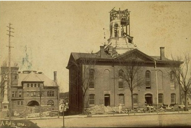 Meriden town hall during renovation, 1890