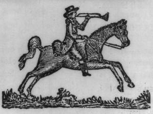 Woodcut of a postal rider