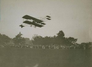 Charles Hamilton in his flying machine, New Britain