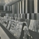 Display of Cheney Brothers silk ribbons and fabrics