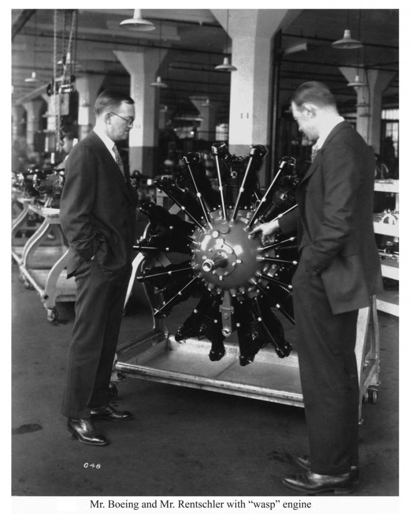 Frederick B Rentschler inspecting a Wasp engine