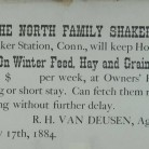 Shaker advertisement to board horses, 1884