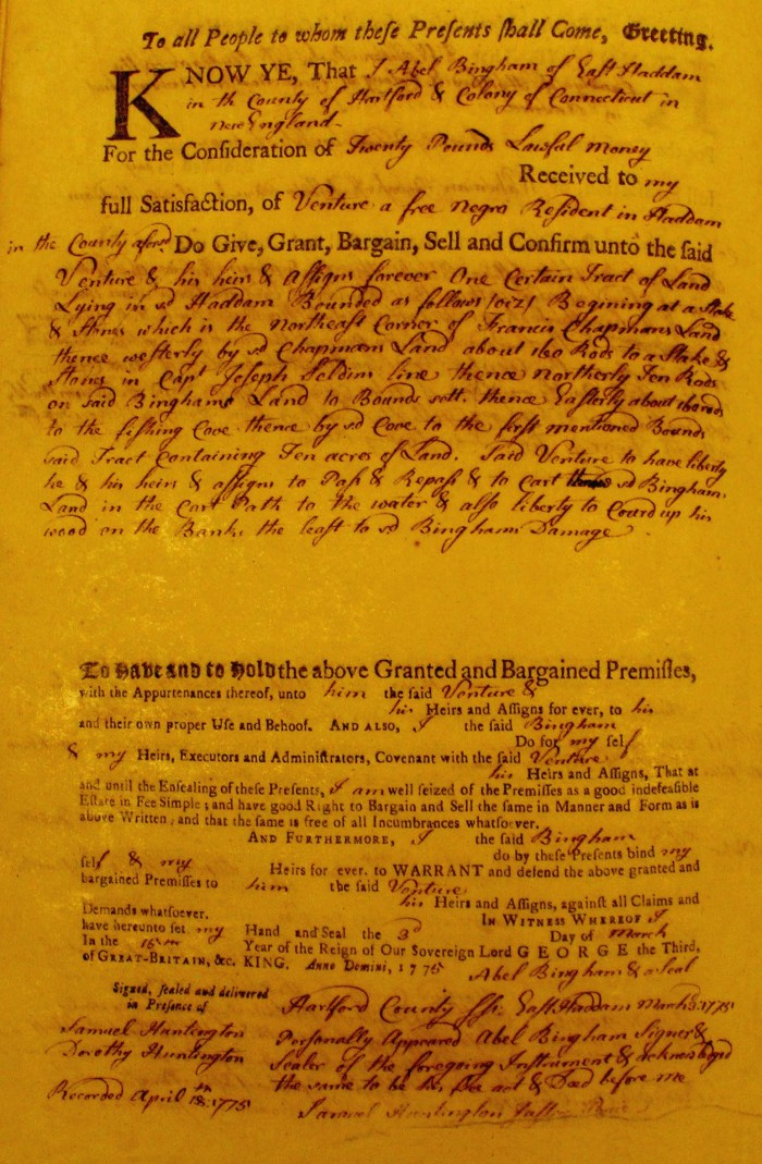 Venture Smith's first real-estate purchase in East Haddam, 1775