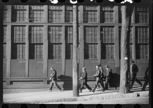 Workers coming out of the Farrell Birmingham Foundry, Ansonia, 1940