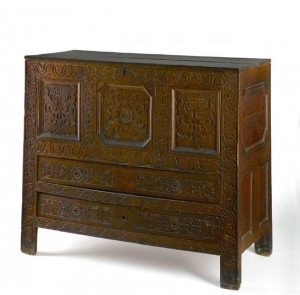 Decorative carved chest, ca. 1680