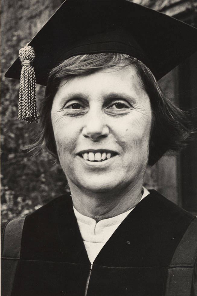 Ella T. Grasso receiving an honorary Doctor of Law degree