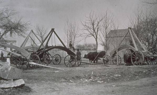 George Washington Packer's patented rock and stump pullers, Mystic