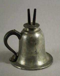 Cast Britannia metal whale oil lamp, maker unknow