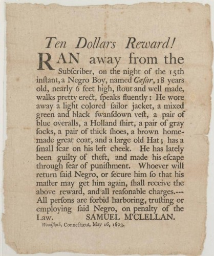 Ad announcing reward for runaway slave, 1803