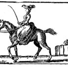 Illustration of a woman on horse, woodcut