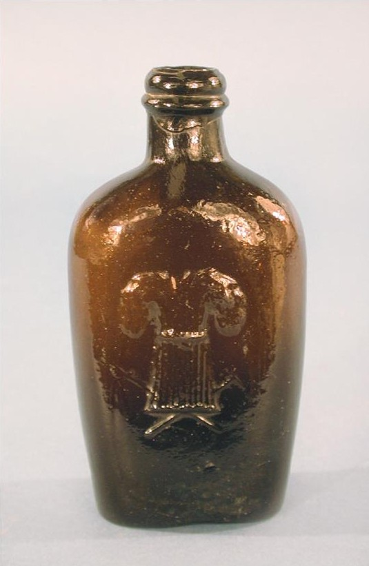 Figured flask, Westford Glass Company, Ashford
