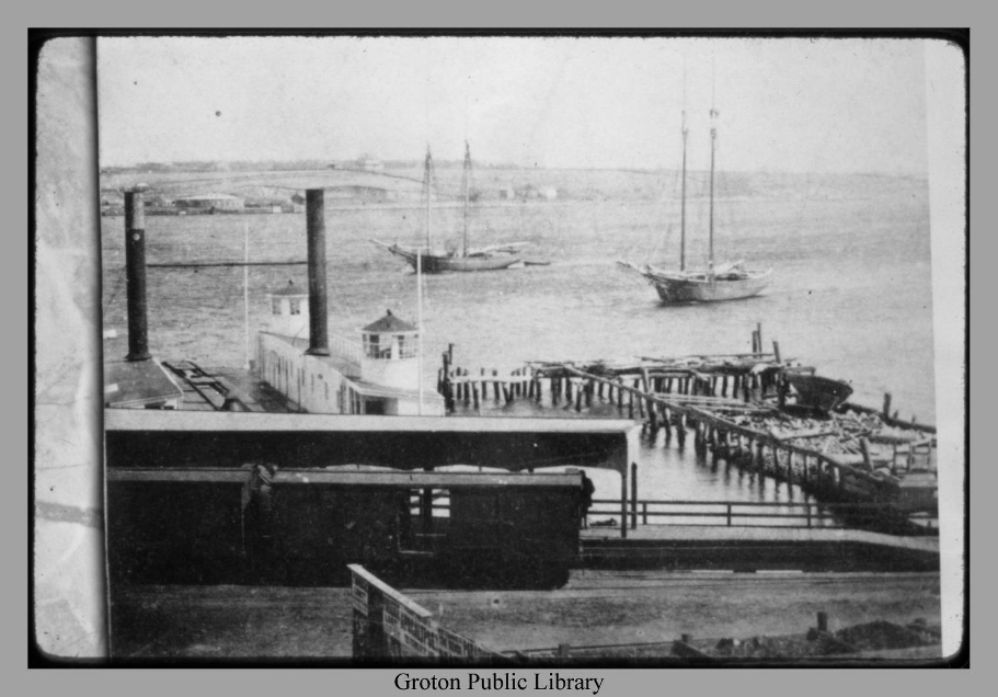 Railroad ferry across Thames River, Groton
