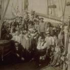 Captain James W. Buddington and crew on whaling schooner