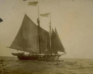 Whaling schooner Margarett departing on last whaling voyage