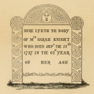 Illustration of Sarah Knight's tombstone