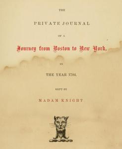 Madam Knight's journal