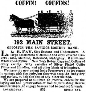 Advertisement for Coffins, Hartford area, ca. 1963