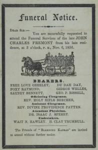 Funeral notice, ca. 1856