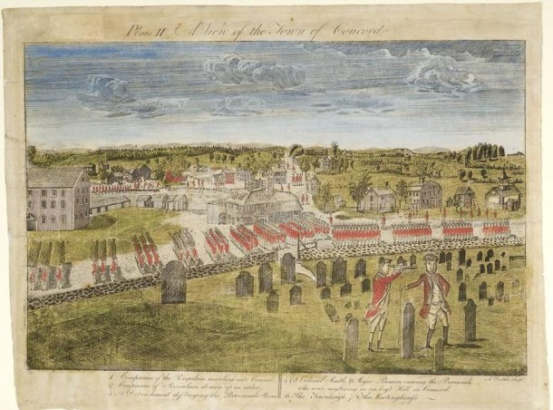 Ralph Earl, A View of the Town of Concord etched by Amos Doolittle