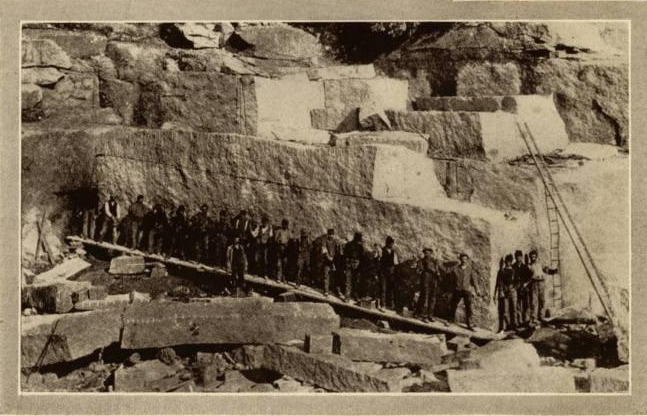 Splitting a block of Stony Creek Granite, Stony Creek, Branford