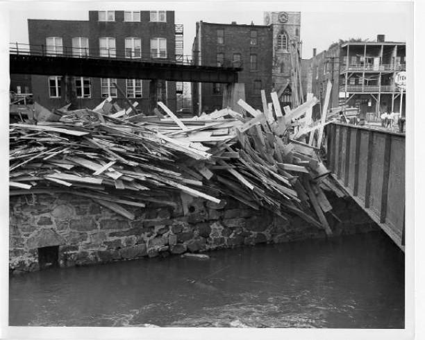 Lumber against Prospect St. Bridge over the Naugatuck River, Torrington