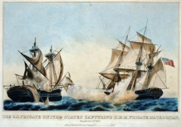 The U.S. frigate United States capturing H.B.M frigate Macedonian