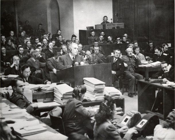 Thomas Dodd (at podium), Nuremberg trial, ca., 1945-46