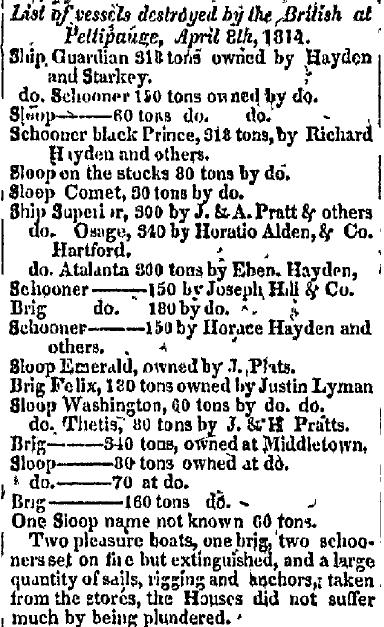 List of vessels destroyed by the British at Pettipauge, April 8th, 1814