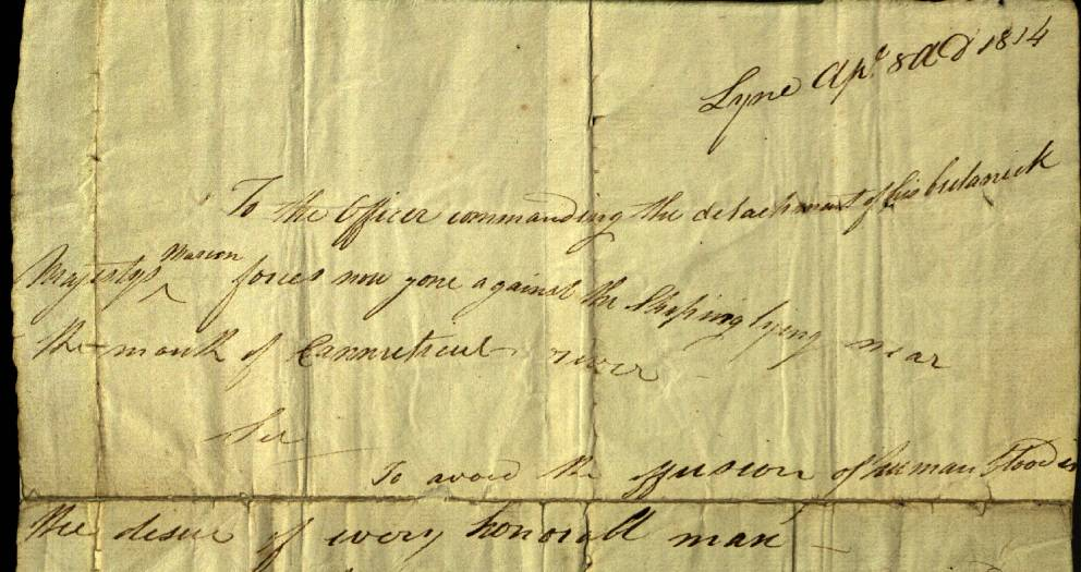 Letter to the Commander of the British Marine forces requesting his surrender signed by Major Marsh Ely