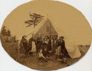 Mr. Gunn (center) Girls' camp, Milford, 1863