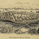 An illustration of the Pequot Fort at Mystic
