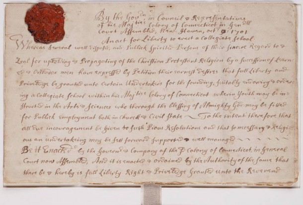 Yale charter, October 9, 1701