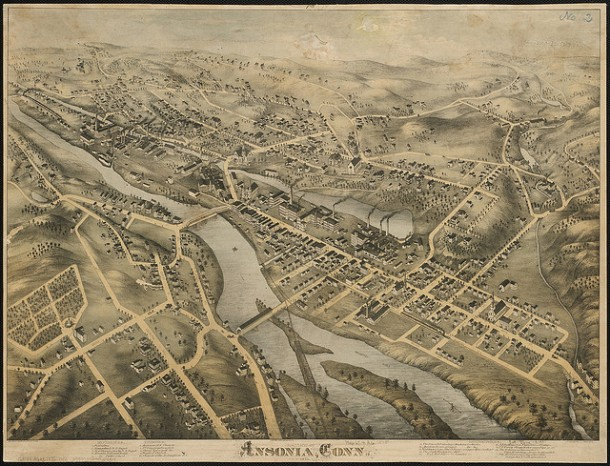 map bird s eye view of ansonia 1875 connecticuthistory org