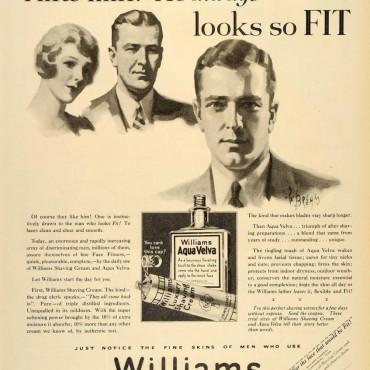 Williams Shaving Cream and Aqua Velva ad, ca. 1929