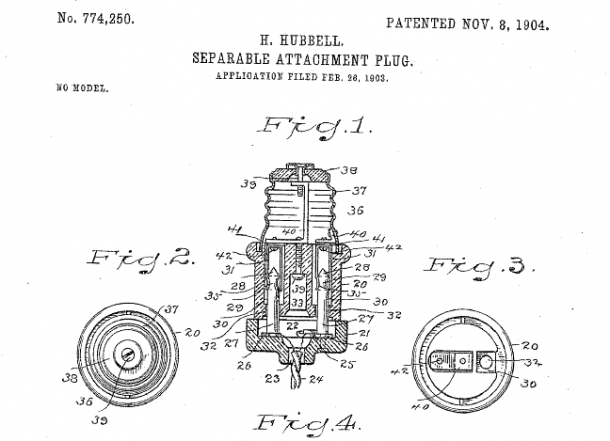 BridgeportHubbellPlug 610x441 first us detachable electric plug today in history november 8 plug wiring diagram us at soozxer.org