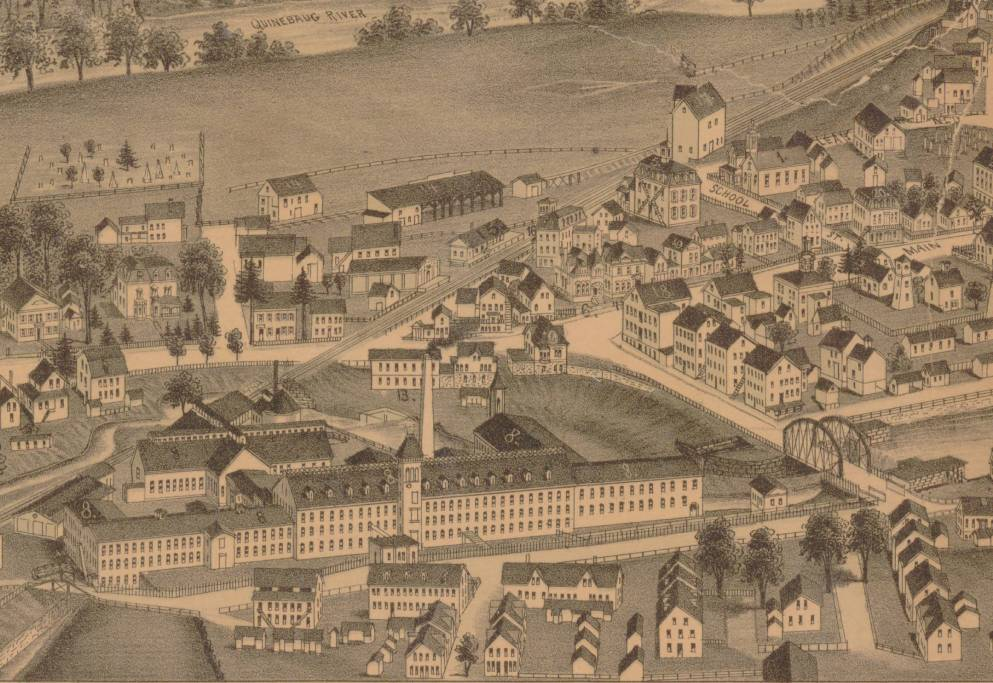 Detail from Jewett City, Conn, bird's-eye map by Lucien R. Burleigh