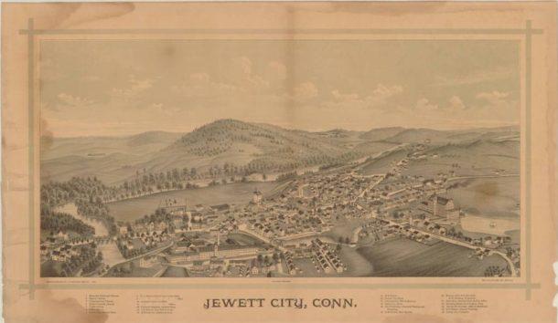 Jewett City, Conn, bird's-eye map by Lucien R. Burleigh