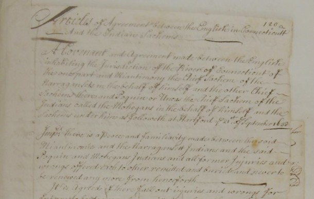 Detail from the Articles of agreement between the English in Connecticutt and the Indian Sachems