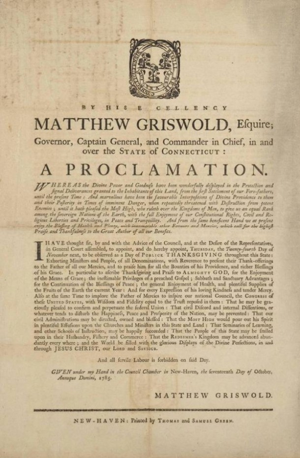 Thanksgiving Proclamation, Matthew Griswold, New Haven, 1785